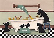 Scotties (scottish terriers) chase a tub full of ducks / Lynch signed folk art print