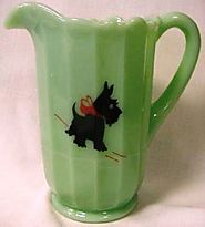 Paneled Glass Water Pitcher Mosser USA - Scottie Dog (Jade Red Bow Scottie Dog)