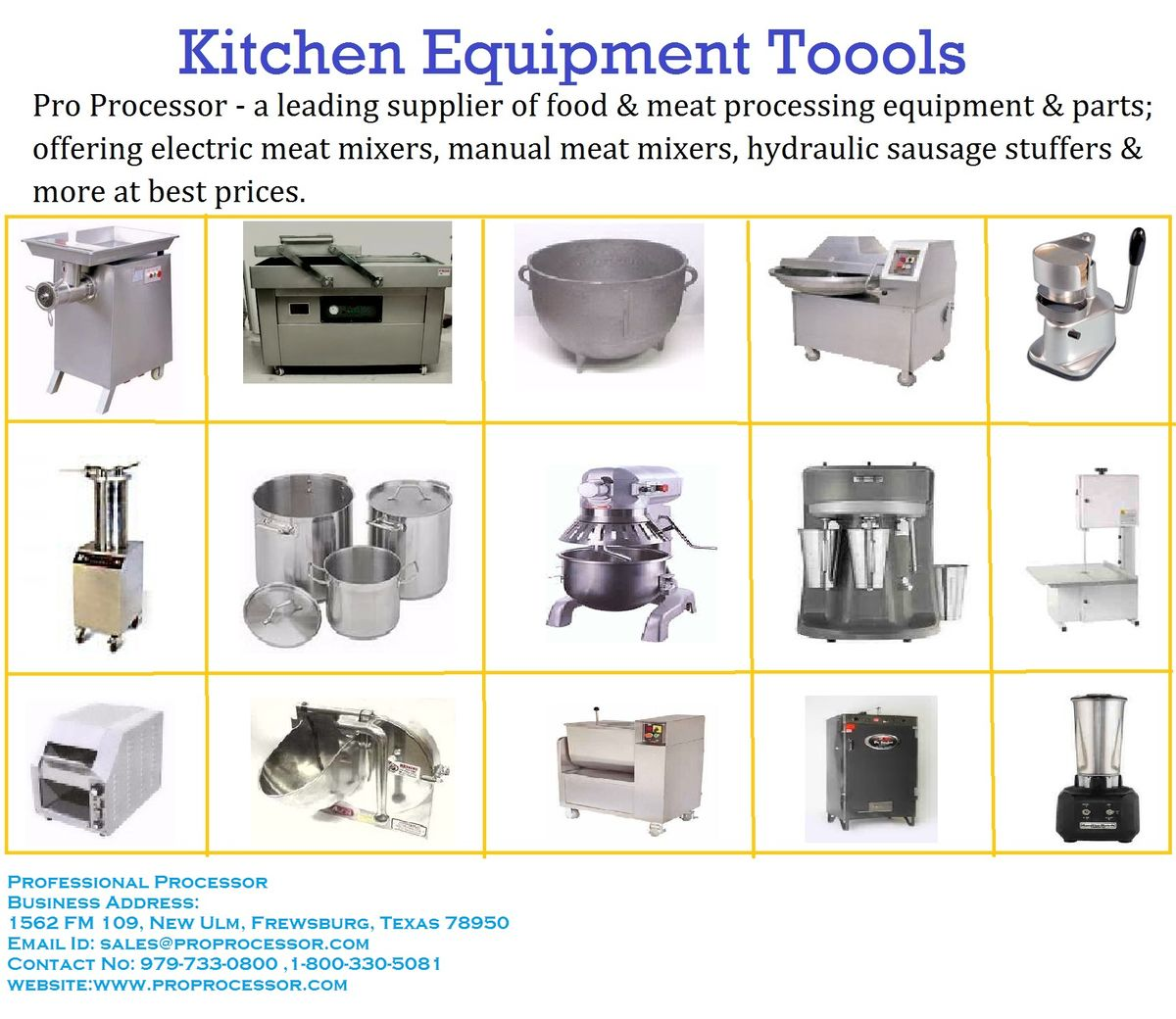 Headline for Kitchen Equipment Supplier in USA