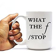 What The f/Stop Camera 15oz Ceramic Mug- Photographers Coffee Cup