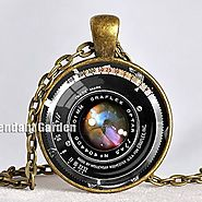 Vintage Camera Lens Necklace Black Bronze Red Photograper Pendant Camera Pendant Gift for Photographer Not an Actual ...