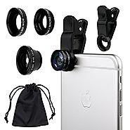 Camkix Universal 3 in 1 Cell Phone Camera Lens Kit - Fish Eye Lens / 2 in 1 Macro Lens & Wide Angle Lens / Universal ...
