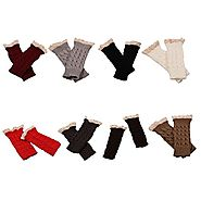 Sunward New Womens Lace Knitted Fingerless Gloves Arm Warmer Thumb Hole Mittens