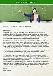 Sample Cover Letters for Teachers