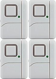 GE 45174 Battery Operated Magnetic Window Alarm with On/Off Light (Pack of 4)