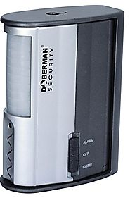 DOBERMAN SECURITY Motion Alarm Detector with Infrared Sensor and Loud 100dB Alarm OR Chime - Features Long Battery Li...