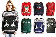 V28® Women's Christmas Reindeer Snowflakes Sweater Pullover