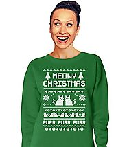 TeeStars - Meowy Christmas Ugly Sweater - Cute Xmas Party Women Sweatshirt Medium Green