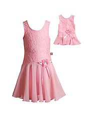 """Pink Lace"" Skirted Leotard with Matching Outfit for 18 inch Play Doll"