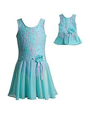 """Aqua Lace"" Skirted Leotard with Matching Outfit for 18 inch Play Doll"
