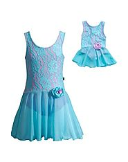 """Blue Lace"" Dance Set with Matching Outfit for 18 inch Play Doll"
