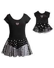"""Classic Black Hearts"" Dance Set with Matching Outfit for 18 inch Play Doll"