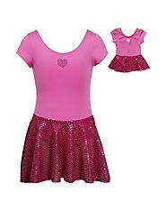 Shimmering Heart Skirt Leotard Dancewear with Doll Outfit