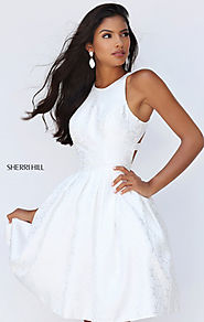 2016 Sherri Hill 50293 Ivory Pleated Open-Back Bodice Short Prom Dresses