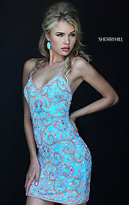 2016 V-Neck Blue/Multi Sherri Hill 50364 Beaded Slim Straps Short Prom Dresses