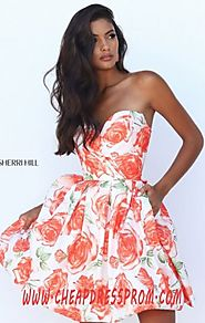 Sherri Hill 50329 Orange Floral Print Sweetheart-Neck 2016 Short Prom Dresses
