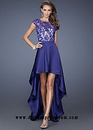 Custom Cap Sleeves Purple Lace Satin Hi-lo Prom Dress Low Prices