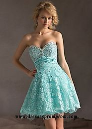 Lace Cover Beaded Strapless Aqua Corset Back Homecoming Dress