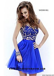 Royal Blue Scoop Neck U-Back Embellished Floral Homecoming Dress