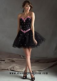Short Black Pink Beaded Strapless Corset Back Cocktail Dress