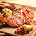 Grilled Salmon & Zucchini with Red Pepper Sauce
