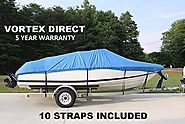 VORTEX HEAVY DUTY VHULL FISH SKI RUNABOUT COVER FOR 17 18 19' BOAT, BEST AVAILABLE COVER BLUE