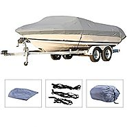"Pinty Oxford Cloth Heavy Duty Waterproof Trailerable Boat Cover fits 16"" 17"" 18"" 19"" Boats with Quick Release Buckle ..."