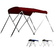 Leader Accessories Grey Pacific Blue Burgundy 3 Bow Bimini Top Boat Cover Includes Mounting Hardwares with 1 Inch Alu...