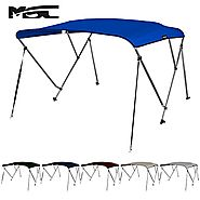 "MSC® Standard 3 Bow Bimini Boat Top Cover with Rear Support Pole and Storage Boot (Pacific Blue, 3 Bow 6'L x 46""H x 7..."