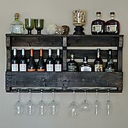 VinoGrotto Large Pallet Wall-Mounted Wine Rack (Espresso Walnut Finish), Espresso Walnut