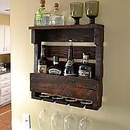 VinoGrotto Small Pallet Wall-Mounted Wine Rack (Espresso Walnut Finish), Espresso Walnut