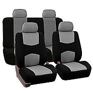 FH-FB050114 Flat Cloth Car Seat Covers Gray / Black Color