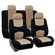 FH-FB050114 Flat Cloth Car Seat Covers Beige Color
