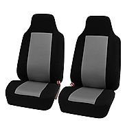 HOLIDAY SALE : FH-FB102102 Classic Bucket Cloth Car Seat Covers Grey / Black color - Fit Most Car, Truck, Suv, or Van