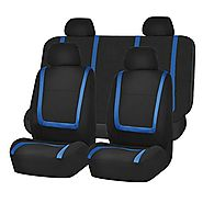HOLIDAY SALE : FH-FB032114 Unique Flat Cloth Seat Cover w. 4 Detachable Headrests and Solid Bench Blue & Black
