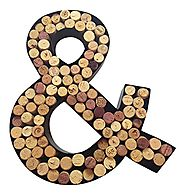 "Monogram Letter & (""And"" Symbol) Wall Wine Cork Holder in Black Metal"