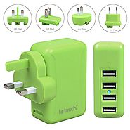 [Upgraded Version & All Smart Port] LETOUCH 24W (5V 4.8A) 4-Port USB Wall Charger Travel Kit With Interchangeable Plu...