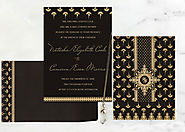Black Matte Screen Printed Wedding Invitation : AIN-8247B | A2zWeddingCards