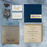 Blue Shimmery Paisley Themed Indian Wedding Cards - A2zWeddingCards