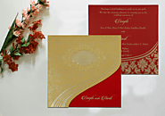 Shimmery foil stamped Indan Wedding Invitations - A2zWeddingCards
