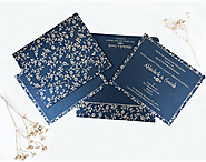 Navy blue shimmery indian wedding invitation cards