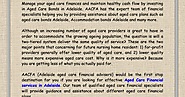 AACFA provide Aged Care Financial Services Adelaide