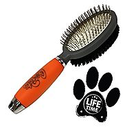 Professional Double Sided Pin & Bristle Brush for Dogs & Cats by GoPets Grooming Comb Cleans Pets Shedding & Dirt for...