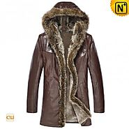 CWMALLS® Custom Brown Mens Fur Coat CW877160