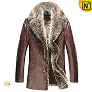 CWMALLS® Custom Brown Fur Trimmed Coat CW868889