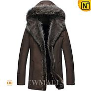 CWMALLS® Custom Brown Hooded Fur Coat CW855286