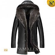 CWMALLS® Custom Hooded Raccoon Fur Trench Coats CW836065