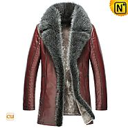 CWMALLS® Columbus Embossed Shearling Leather Coat CW852556