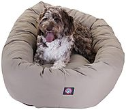 Majestic Pet 52-Inch Bagel Bed for Pets, Khaki
