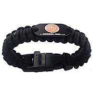 Survival Paracord Bracelet includes Fire Starter, Whistle, Knife, and 10.5 feet of Paracord - (Black, 9 inches Large)